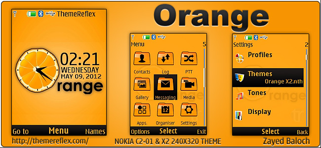 Orange Theme for Nokia X2-00,C2-01 & 240×320