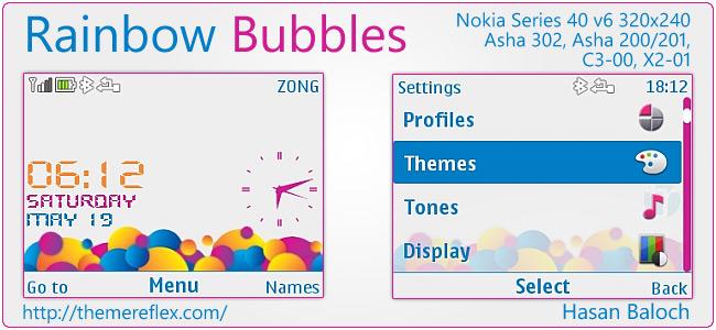 Rainbow Bubbles theme for Nokia Asha 302, C3-00, X2-01 & 320×240