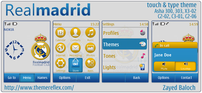 Real Madrid theme for Asha 303, X3-02, C2-06/C2-02 & Touch and Type