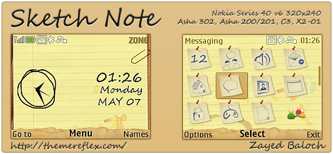 Sketch Note theme for Nokia Asha 302, C3-00, X2-01 & 320×240