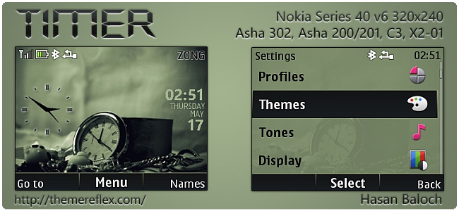Timer theme for Nokia Asha 302, C3-00, X2-01 & 320×240