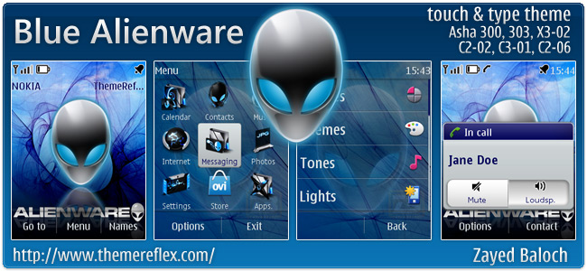 Blue Alienware theme for Nokia Asha 303, X3-02, C2-06, touch & type