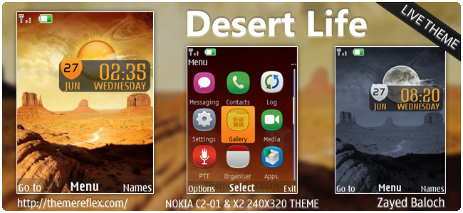 Desert Life live theme for Nokia X3, C2-01, X2-00 & 240×320