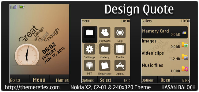 Design Quote Theme for Nokia X2, C2-01 & 240×320