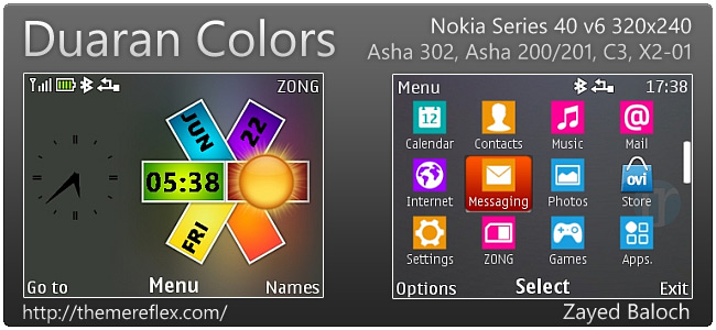 Duoran Colors theme for Nokia Asha 302, C3-00, X2-01 & 320×240