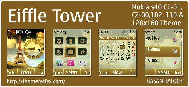 Eiffel Tower Theme for Nokia 110, 112, C1-01, C2-00 & 128×160