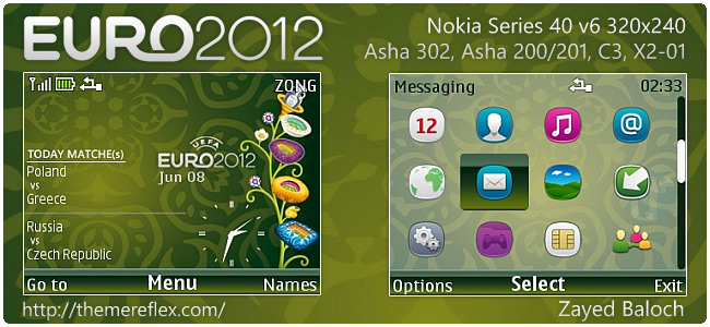 Euro 2012 Schedule theme for Nokia Asha 302, C3-00, X2-01 Asha 200/201