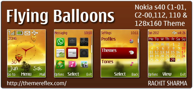 Flying Balloons Theme for Nokia C1-01, C2-00, 110, 112 & 128×160