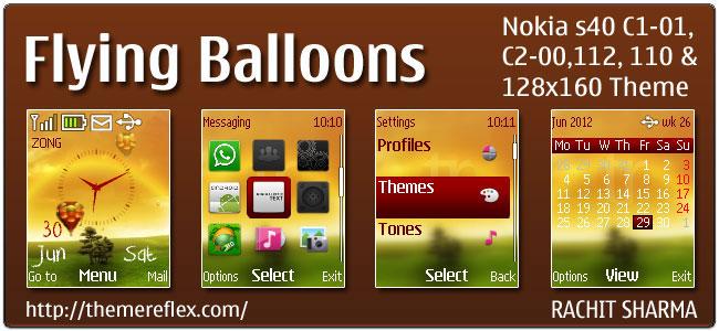 Flying Balloons Theme for Nokia C1-01, C2-00, 110, 112 & 128×160