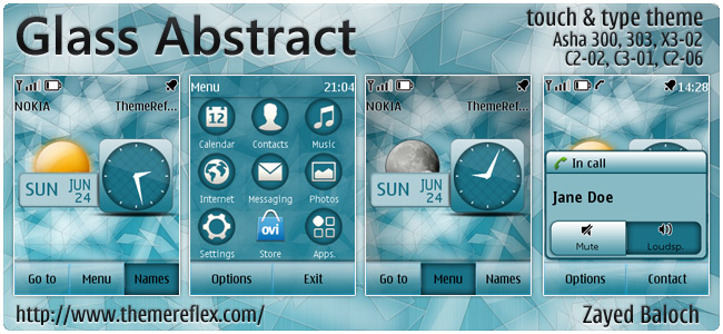 Glass Abstract theme for Nokia Asha 303, X3-02, C2-06, touch & type