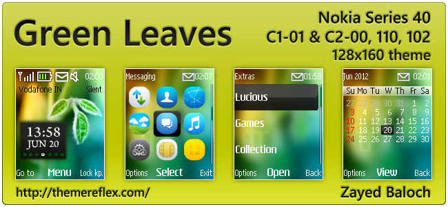 Green Leaves clock theme for Nokia 110, 112, C1-01, 2690 & 128×160