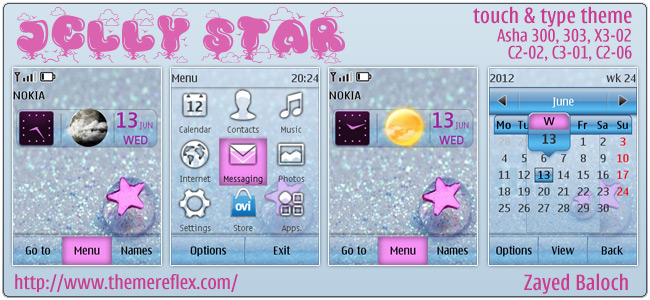 Jelly Star theme for Nokia Asha 303/300, X3-02, C2-06, touch & type
