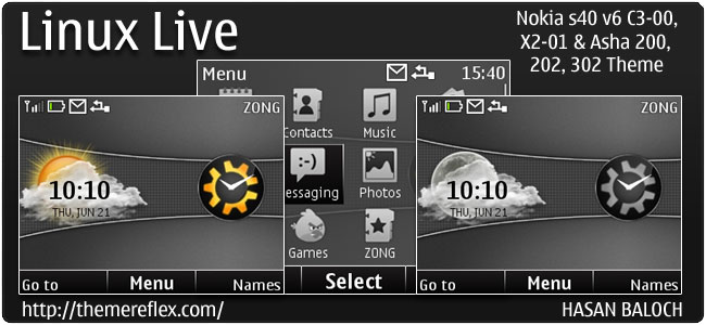 Linux Live Theme for Nokia C3, X2-01 & Asha 200,201,302