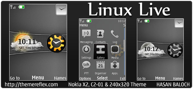 Linux Live Theme for Nokia X2-00, C2-01 & 240×320
