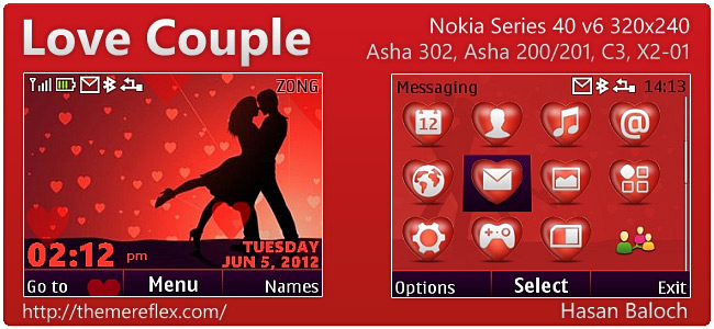 Love Couple theme for Nokia Asha 302, C3-00, X2-01 & 320×240 (Updated)