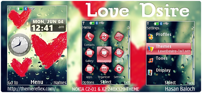 Love Desire theme for Nokia X3, X2-00, C2-01 & 240×320