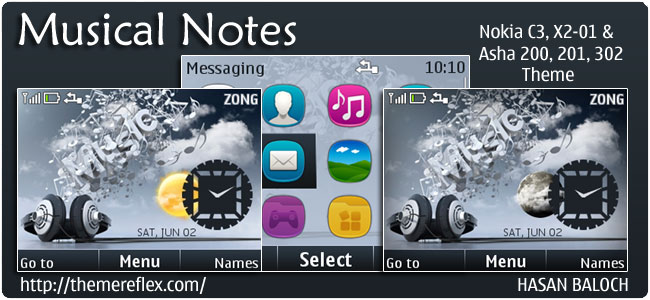 Musical Notes Live Theme for Nokia C3, X2-01 Asha 200,201,302