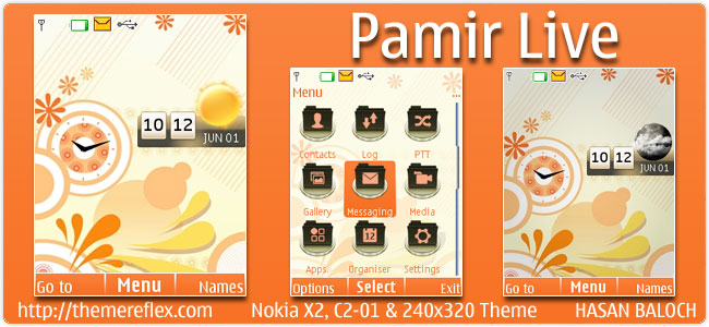 Pamir Live theme for Nokia X2, C2-01 & 240×320