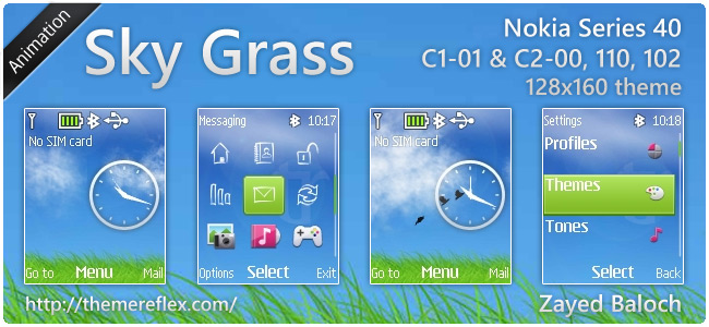 Sky Grass animated theme for Nokia 110, 112, C1-01 & 128×160