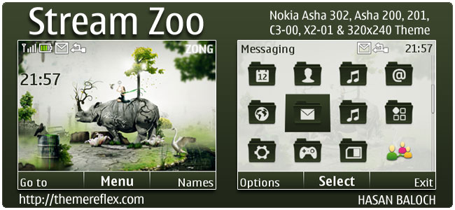 Stream Zoo Theme for Nokia C3, X2-01 & Asha 200,201,302
