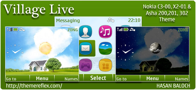 Village Live Theme for Nokia C3, X2-01 & Asha 200,201,302