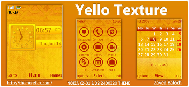 Yellow Texture theme for Nokia X2-00, C2-01, X3 & 240×320