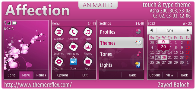 Affection animated theme for Nokia Asha 303, X3-02, C2-02, touch & type