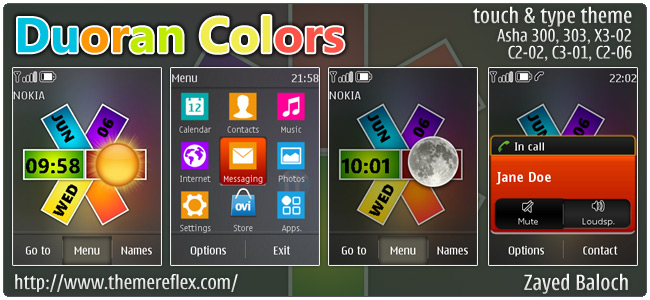 Duoran Colors theme for Nokia Asha 303, X3-02, C2-06, touch & type