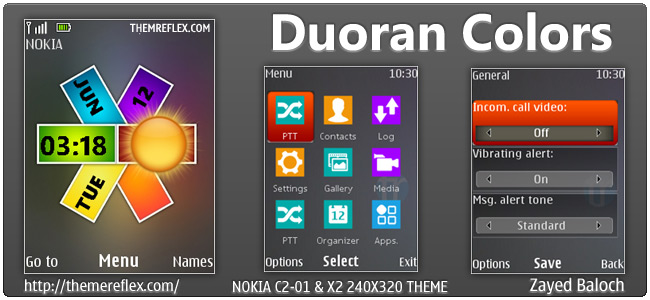 Duoran Colors theme for Nokia X3, C2-01, X2-00 & 240×320