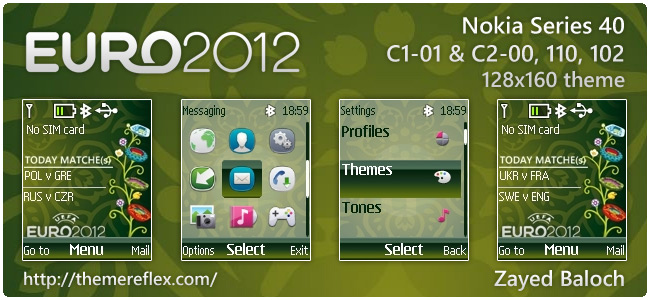 Euro 2012 Schedule theme for Nokia C1-01, C2-00, 2690 & 128×160