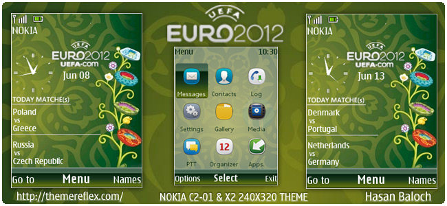 Euro Cup 2012 live schedule theme for Nokia X2, C2-01 & 240×320