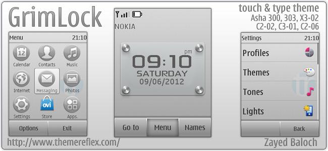 GrimLock theme for Nokia Asha 303, X3-02, C2-02/C2-06, touch & type