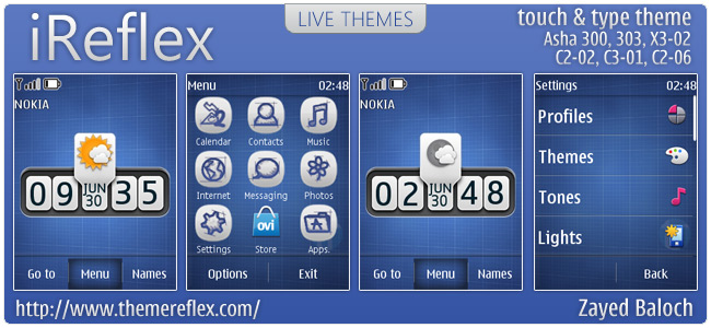 iReflex Theme for Nokia for Asha 303, X3-02, C2-06, touch & type (Updated)