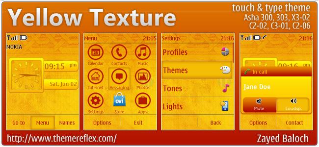 Yellow Texture theme for Nokia Asha 303, X3-02, C2-06/C2-02, touch & type