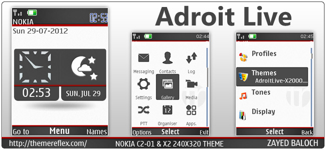 Adroit Live theme for Nokia X3, X2-00, C2-01 & 240×320 (Updated)
