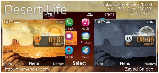 Desert Life live theme for Nokia Asha 302, X2-01, C3-00 & 320×240