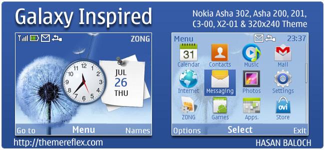 Galaxy Inspired Theme for Nokia C3, X2-01 & Asha 200,201,302