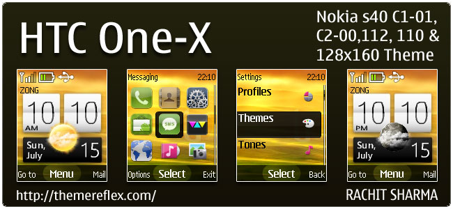 HTC One-X Live Theme for Nokia C1-01, C2-00, 110, 112 & 128×160 (Updated)