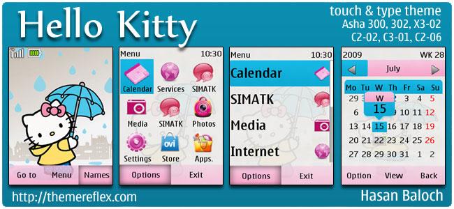 Hello Kitty Theme for Nokia Asha 303/300, X3-02, C2-02, touch & type