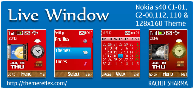 Live Window Theme for Nokia C1-01, C2-00, 110, 112 & 128×160