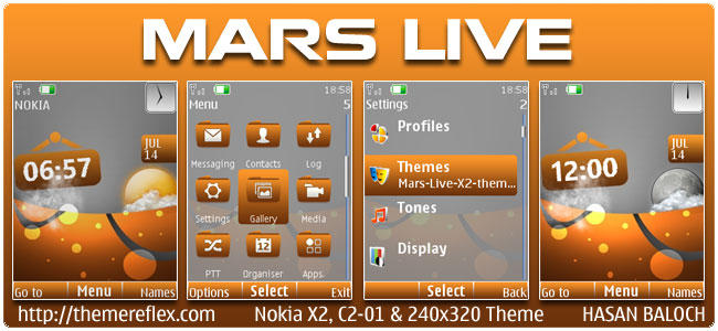 Mars Live Theme for Nokia X2, C2-01 & 240×320