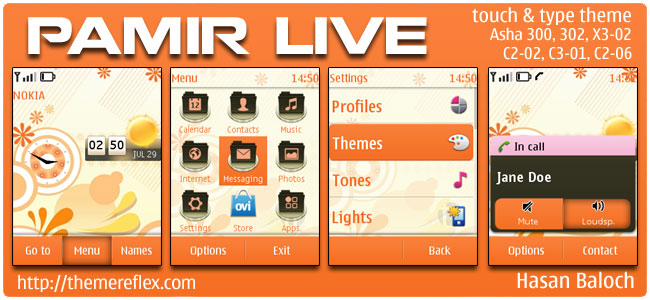 Pamir Live Theme for Nokia Asha 300/303, X3-02, C2-06, touch & type