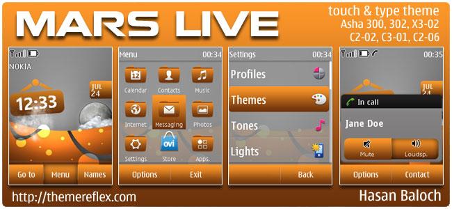 Mars Live Theme for Nokia Asha 300/303, X3-02, C2-06, Touch & Type