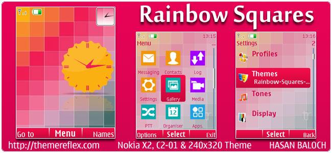 Rainbow Squares Theme for Nokia X2, C2-01 & 240×320