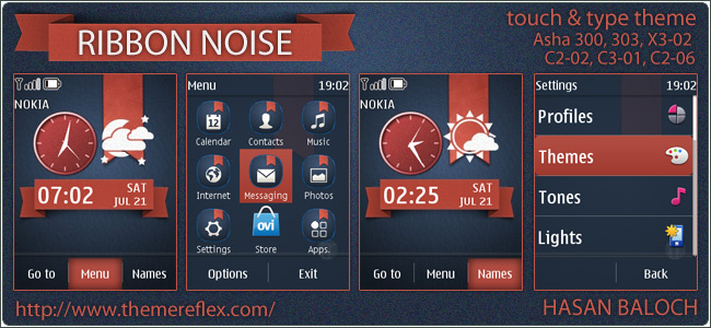 Ribbon Noise theme for Nokia Asha 303/300, X3-02, C2-06, touch & type