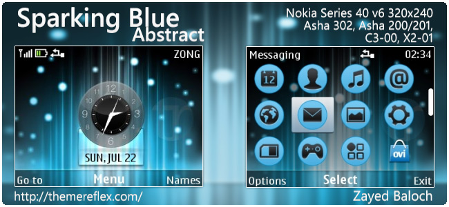 Sparking Blue abstract theme for Nokia Asha 302, C3-00, X2-01