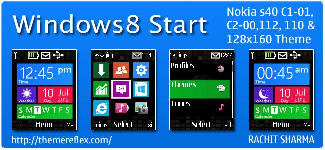 Windows 8 Start Live Theme for Nokia C1-01, C2-00, 110, 112 & 128×160