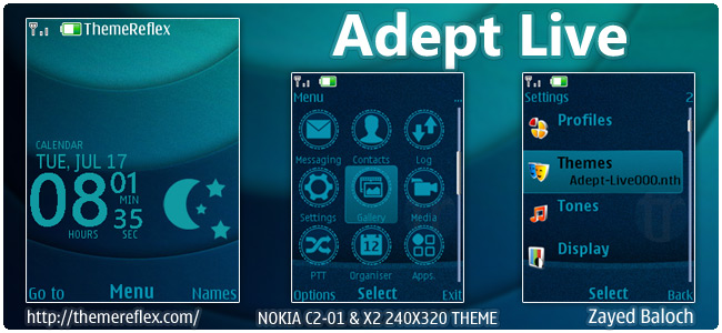 Adept Live theme for Nokia X2-00, X3, C2-01 & 240×320