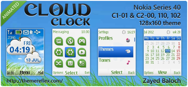 Cloud Clock animated theme for Nokia 110, 112, C1-01 & 128×160