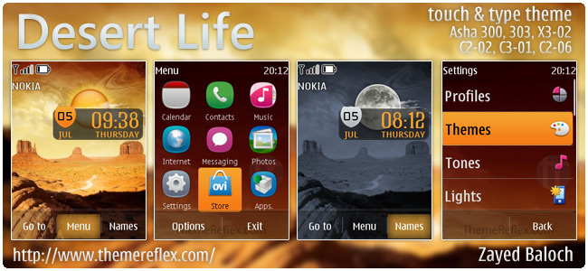 Desert Life live theme for Nokia Asha 303, X3-02, C2-02, touch & type
